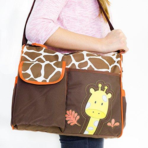 Wickeltasche mit Giraffen-Muster, braun - 8
