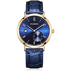 STARKING Men's Automatic Watch Date Blue Dial Rose Gold Plated with Genuine Leather Waterproof Strap Business Casual AM0232RL77