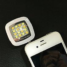 VANKER 1Pc - Mini portátil Smartphone 16 flash LED de luz de z teléfono móvil cámara Pocket proyector Foto Video luz lámpara Speedlite relleno para el iPhone IOS Android WP(Blanco)