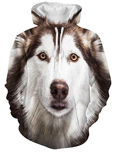 Causal Hoodie, Chicolife Unisex Lustige 3D Digital Voll Bedruckte Drawstring Husky Hoodies Pullover Sweatshirts Kangaroo Tasche mit Samt Plus Futter (XXL, Husky)
