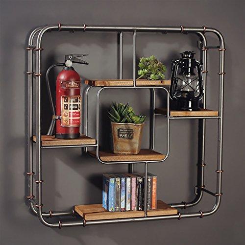 INTASHJ Deko Wandregal Iron Industrial Style Wand hängen Regal Wand Schlafzimmer Retro Wohnzimmer Dekoration Bücherregal - Vintage Industrial Bücherregal