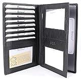 Große und Kleine Herren und Damen Leder Brieftasche Ausweismappe Ausweishülle Kreditkartenetui Verschiedene Modelle (M1 schwarz)
