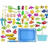 Batop Angelspiel Magnet, 60Pcs Angeln Spielzeug mit Schwimmenden Fisch, Magnetic Angelrute und Schwimmbad, Badespielzeug für Kinder ab 3 Jahre
