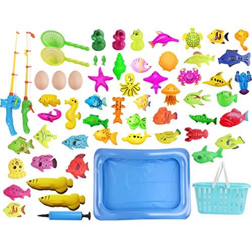 Seciie Magnete Angelspiel, 60er Set Magnetisches Angeln Spielzeug Wasserspiel Badespielzeug in der Badewanne Lernspielset zum Angelnlernen