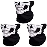 Rovtop 3 Pcs Black Seamless Skull Face Tube Mask, Motorcycle Face Mask