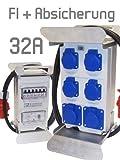 Stromverteiler 32A 400V- 230V FI Sicherung Baustromverteiler Steckdosenverteiler