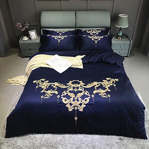 HIUGHJ steppen 60er ägyptischer Baumwolle Gold Royal Stickerei Bettwäschesatz Queen King Size Blue Bettbezug Bettlaken Bettwäsche KissenbezügeFree shipping200 x 230cm (79 x 91 Zoll) 220 x 240 (Blue Bettwäsche Queen Royal)