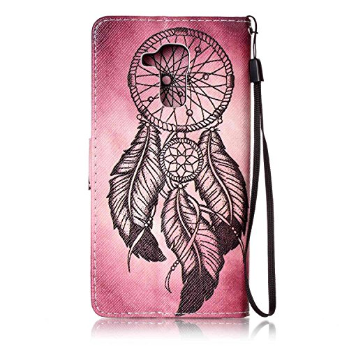 Huawei Honor 5C Case,Huawei Honor 5C Cover,ikasus Colorful Art Painted Pattern Premium PU Leather Fold Wallet Pouch Case Wallet Flip Cover Bookstyle Magnetic Closure with Card Slots & Stand Function Protective Case Cover for Huawei Honor 5C,Feather Campanula