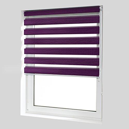 casa pura® Doppelrollo Day & Night mit Doppelfunktion – tageslichtdurchlässig und verdunkelnd – in 8 Größen | Violett