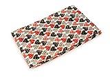 Jersey Stoff gemustert als Meterware |Muster: Herzen rot/schwarz|100cm x 160cm|92% Baumwolle, 8% Elasthan|Mehrere Farben zur Auswahl|Jersey|1buy3