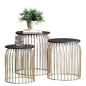 [en.casa]® Tavolino d´appoggio moderno in un set di 3 - cestino di metallo / tavolo da salotto color rame