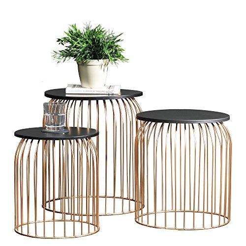 [en.casa] Stylischer Metallkorb im 3er Set - Design Beistelltisch / Couchtisch kupferfarben Metall