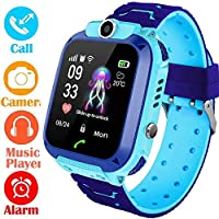 AMERTEER Kids Smart Watch Phone, Kids LBS Tracker Watch with SOS Anti-Lost Alarm Sim Card Slot Touch Screen Smartwatch for 3-12 Year Old Children Girls Boys (Blue)