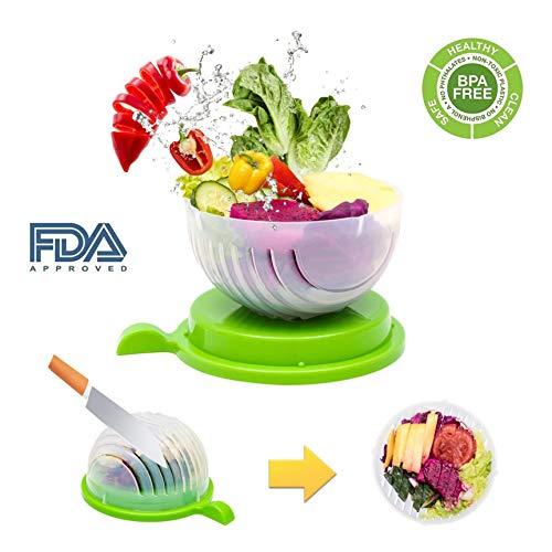 Zonster Salatschneider Schüssel, Fast Frischer Salat Slicer 60 Sekunden Salat Hersteller Gemüse Obst Bowl Cutter & Sieb Dual-Use - Geschenkpaket Bonus enthalten (Grün) Salat Slicer