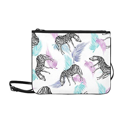 JEOLVP Exotische Sommer Nahtlose Muster Zebra Silhouetten Muster Benutzerdefinierte hochwertige Nylon Schlanke Handtasche Umhängetasche Umhängetasche (Nylon Zebra Handtasche)