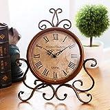 WINOMO Retro orologio ferro antico mestiere reception orologio da tavolo per scrivania a casa mobile decorazione (marrone)
