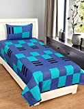 #8: Zesture Bring Home Premium 144 TC Cotton Single Bedsheet with Pillow Cover - Geometric, Multicolour
