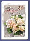 Riesen 60 Diamant Hochzeit Karte Grußkarte Bronze Foliendruck Rosen A4