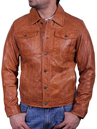 UK Vintage Herren Leder Bikerjacke Motor Slim Fit Mantel Outwearlinie (Medium)
