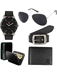 Lime New Year Gifts Aviator Sunglasses With Watch Cardholder Leather Wallet And Belt ( Pack Of 5 )