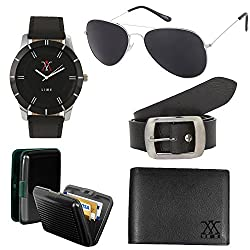 lime christmas gifts aviator sunglasses with watch cardholder leather wallet and belt ( pack of 5 )