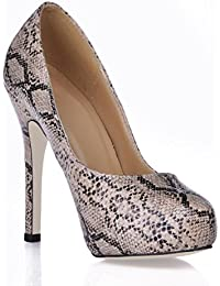 Best 4U® Zapatos de mujer Premium PU suela de goma punta redonda 11CM alto  tacón 46d5f6d2e170
