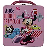 """Disney Minnie Mouse Rectangle Tin Box With Plastic Handle Carry All """"Little World Traveler"""""""