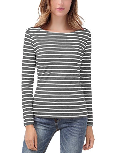 EA Selection Damen Ringel T Shirt Baumwoll Streifen Striped Marine Basic Grau&Weiß M (Gestreiftes Baumwolle Stretch-shirt Aus)