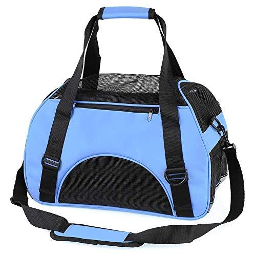 MTHDD Haustier Tasche Tragen Sie einen Katzen Hunderucksack Tragbare Umhängetasche Tragbare Atmungsaktive Kunststoff Netztasche,Blau,L53*32 * 26cm -