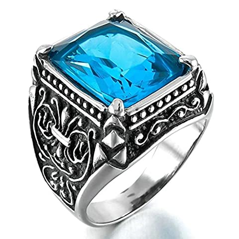 Bishilin Stainless Steel Dragon Claw Blue Zirconia Inlaid Knight Fleur De Lis Gothic Rings Size T 1/2