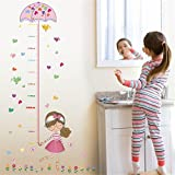 AST Works Girl Umbrella Measure Height Wall Stickers PVC Mural Kids Home Decor