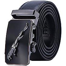 JUZIWEI El Cinturón de Cuero Genuino Caballero de con Hebilla Casual Reversible de Engranaje Automático con
