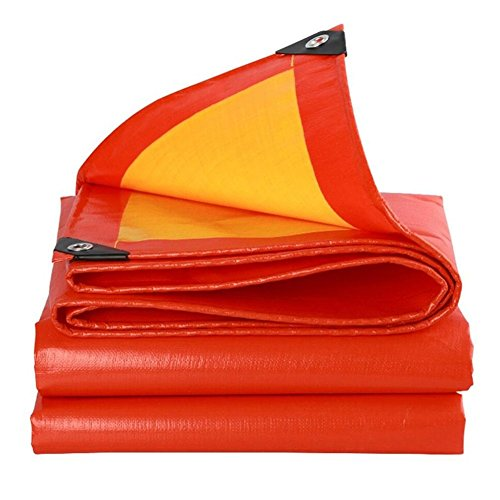 Waterproof Cloth Home Rainproof Raincoat Cloth Thick Canvas, Camping Tarpaulin, Antifreeze Antifreeze Sunscreen, Red + Orange (Color: A, Size: 4x5M)