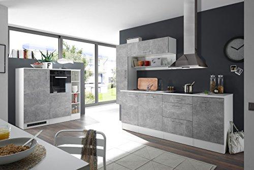 moebel-guenstig24.de Küche Turn Küchenblock Küchenzeile Komplettküche 260cm Singleküche Miniküche Kleinküche grau Beton mit Optionspaket