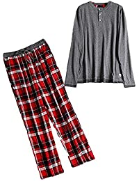 ad4e1b90ed Juqilu Männer Pyjamas 2 Stück Set Baumwolle Langarm Top & lange Hosen Hose  Schlafanzug Nachtwäsche Männer