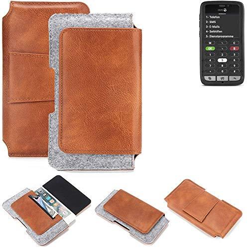 K-S-Trade® Für Doro 8031C Gürteltasche Schutz Hülle Gürtel Tasche Schutzhülle Handy Smartphone Tasche Handyhülle PU + Filz, Braun (1x)