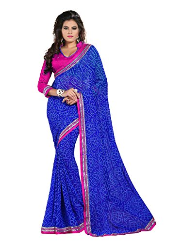 Oomph! Bandhni Printed Chiffon Saree With Dupion Silk Blouse And Embroidered Border (Indigo Blue and Magenta)  available at amazon for Rs.999