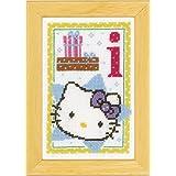 Vervaco - Kit para cuadro de punto de cruz, diseño de Hello Kitty con la letra I, multicolor