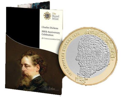 £2 Gedenkmünze Charles Dickens, 2012, von The Royal Mint (britische Münzprägeanstalt) -