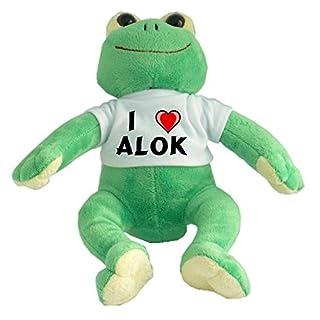 Plush Frog with I Love Alok T-shirt (first name/surname/nickname)
