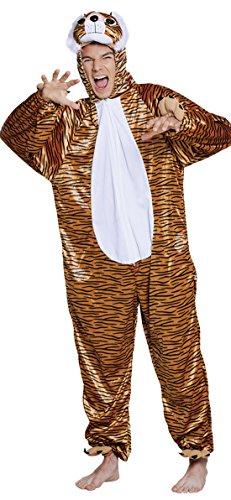 Faschingsfete Kinder Motto-Party Karneval Kostüm Plüsch Tiger Onsie, Jumpsuit, 152-164, 12-14, Mehrfarbig (Plüsch Tiger Maske)