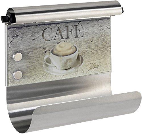 Wenko Portarrollos Magnético Café para la cocina, Vidrio Endurecido, Multicolor, 14.5x35x29 cm