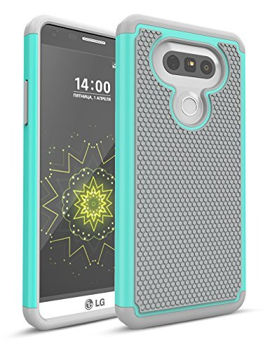 LG G5 Fall, bis, zweilagige Hybrid Defender Rugged Slim Case Massivholz Weich Innen Silikon Bumper Hart PC Back Cover Shell für LG G5 Phone at & T T-Mobile Sprint Verizon entsperrt, Turquoise/Gray