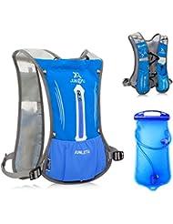Mochila Hidratación DeFe Súper Ligero Mochila de Trail Running 1.5L Bolsa de Agua para Bicicleta Senderismo Correr Acampar Caminar (Azul)