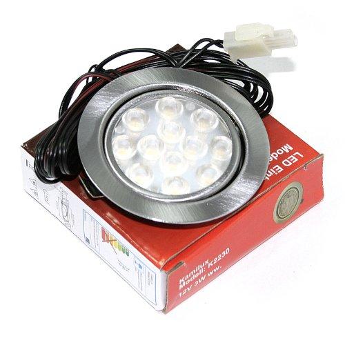 4er Set 12V Power LED Möbel Schrank Küchen Einbauleuchte Möbelleuchte Einbaustrahler Spot IP20 Warmweiß 3 Watt LED = 30 Watt Leuchte mit LED Trafo 15 Watt mit 230V Steckdosen Stecker