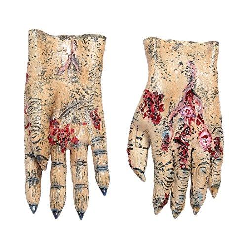 Latex Handschuhe Untoter Gruselige Zombie Hände Zombiehand Monsterhände Monster Latexhandschuhe Horror Verkleidung Zubehör Halloween Kostüm Accessoires