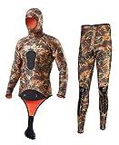 SLINX Unisex 5mm Camouflage Neopren Zweiteiliger Tauchanzug mit Haube/Kaputze (Men, XXXL)