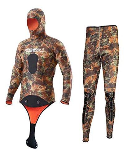 SLINX Unisex 5mm Camouflage Neopren Zweiteiliger Tauchanzug mit Haube/Kaputze (Men, L)