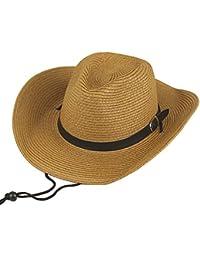 Hombres Sombrero de paja Verano Sombrero de playa Sombrero de vaquero Para Camping / Ciclismo / Caza / Golf / Senderismo One Size Caqui