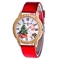 Souarts Womens Bright Red Artificial Leather Imitation Wooden Case Tree Dial Quartz Analog Watch 24cm